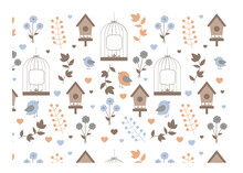 Bird, Cage, Flower And Leaves Vector Illustration For Wallpaper Industry