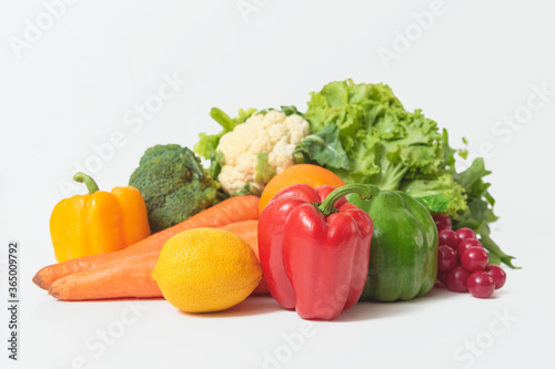 Fototapety, obrazy: Composition with vegetables isolated on white background.