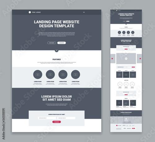 Canvas Print Landing Page Design Set