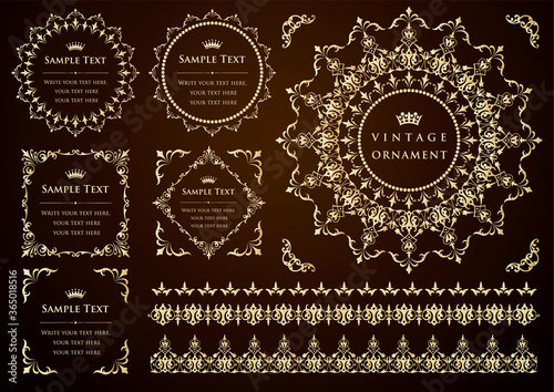 Obraz vector set of vintage design elements - fototapety do salonu