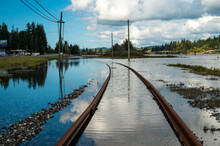 Train Tracks In Coos Bay, Oregon Under Water.
