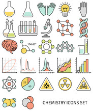 Flat Line Icons Set Of Chemistry Symbols And Objects. Vector Illustration. Science And Education Elements. Chemical Test Tubes Icons.