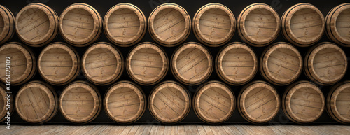 Fotomural Wine barrels stack on wooden floor, black background