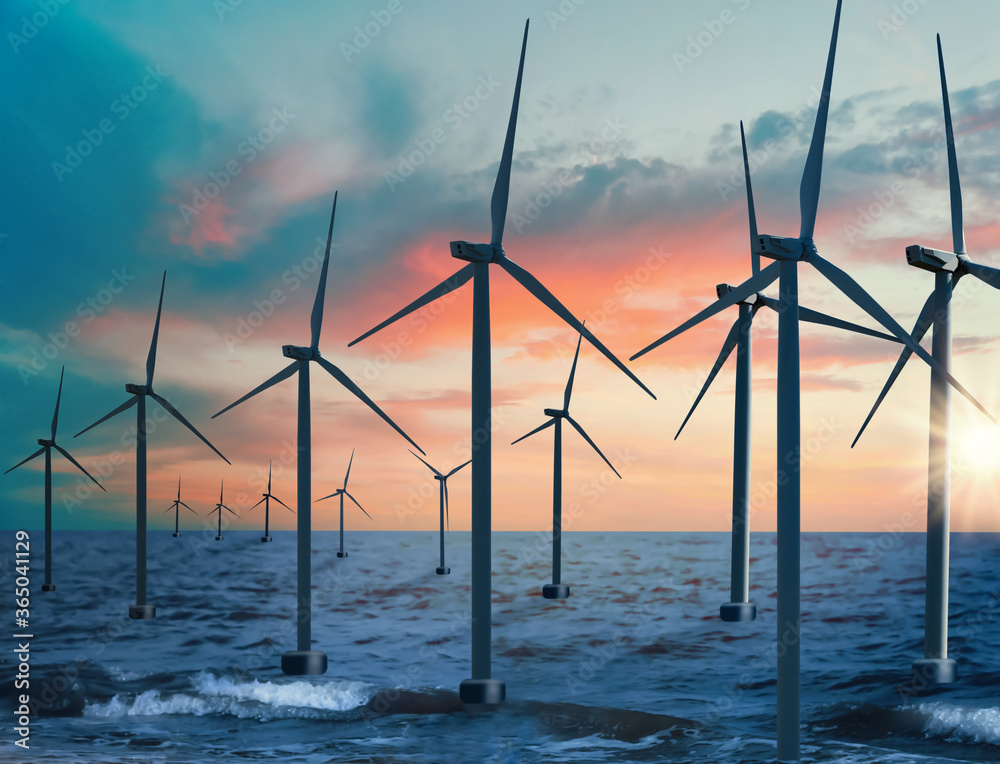 Fototapeta Floating wind turbines installed in sea. Alternative energy source