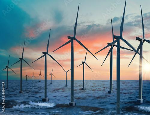Fotografia, Obraz Floating wind turbines installed in sea