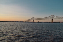 Commodore Barry Bridge At Sunset Over Delaware River
