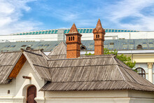 Wooden Roof And Chimneys Of The Old English Courtyard In Zaryadye