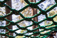 Nylon Mesh. Obstacle Course Element. Close-up.