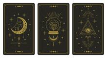 Magical Tarot Cards. Magic Occult Tarot Cards, Esoteric Boho Spiritual Tarot Reader Moon, Crystal And Magic Eye Symbols Vector Illustration Set. Magic Card Astrology, Drawing Spiritual Poster