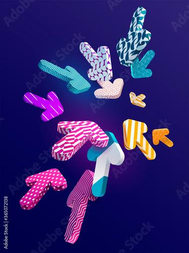 Multi-colored 3D arrows on dark background Fototapet