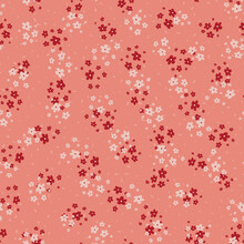 Vector Seamless Pattern With Small Scattered Pink And Red Flowers. Elegant Minimal Floral Background. Simple Ditsy Texture. Liberty Style Wallpapers. Repeat Design For Print, Decor, Fabric, Clothing