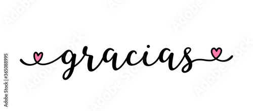 Fotografie, Obraz Hand sketched GRACIAS quote in Spanish as ad, web banner