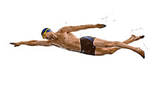 One Caucasian Man Sport Swimme...