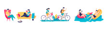 Young People Having Fun Together At Home, Riding Bikes, Swimming