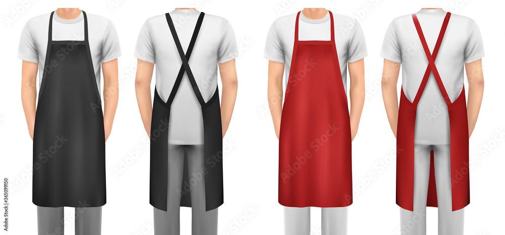 Fototapeta Black and red cotton kitchen apron set. Design template, mock up for branding, advertising etc. Vector illustration.