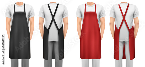Fotografiet Black and red cotton kitchen apron set