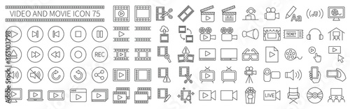 Canvas Print Video and movie related icons set 75