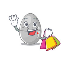 Wealthy Egg Kitchen Timer Cartoon Character With Shopping Bags