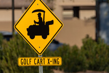 Golf Cart Crossing Sign On Bus...