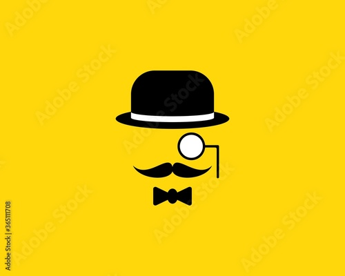 Photo Mustache detective with a monocle