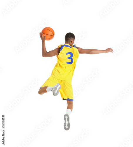 Jumping African-American basketball player on white background Fototapet