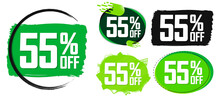 Set Sale 55% Off Banners, Disc...