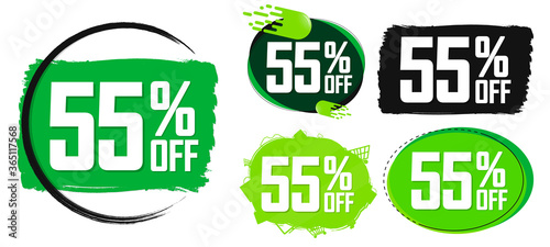 Fotografie, Tablou Set Sale 55% off banners, discount tags design template, final offer, end of sea