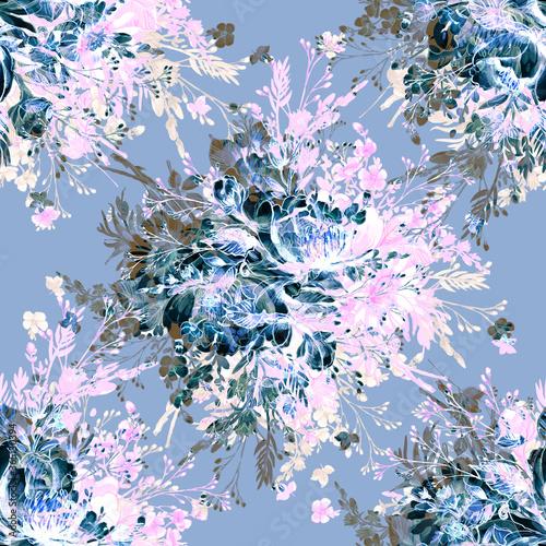 Watercolor seamless pattern Wild Bunch