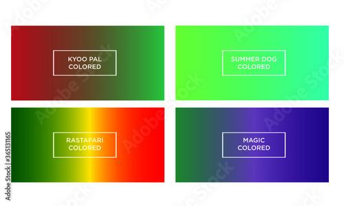 Fototapeta Set of gradient color background (kyoo pal colored, summer dog colored, rastafar