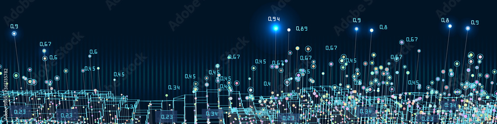 Fototapeta Abstract background big data visualization. Futuristic infographics design. Social network and business concept.