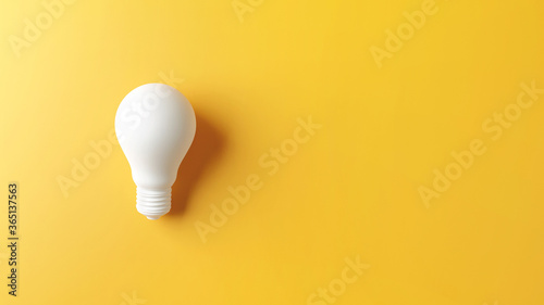 Ideas concepts, Creativity inspiration, White Lightbulb on yellow background, copy space, 3d render