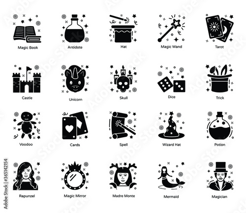 Pack Of Magic Solid Icons Canvas Print