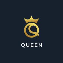 Elegant Letter Q Crown Logo De...