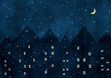 ヨーロッパの雪の夜景...