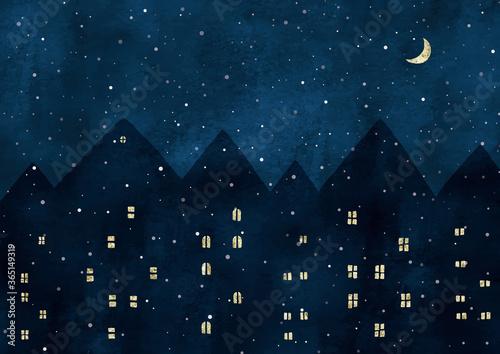 ヨーロッパの雪の夜景水彩 Canvas Print