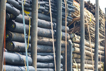 Creosote Timber Wooden Poles Loaded On A Truck Closeup Concept Lumber Industry In South Africa
