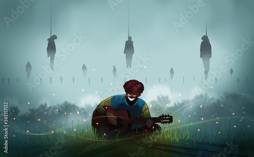 Digital illustration painting design style a devil playing classic guitar and sitting on the meadow, among firefly and hanging corpse, nightmare concept Fototapet