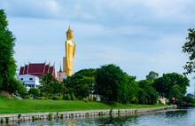 ROI-ET, THAILAND - July 16, 2020 : The Highest And Most Beautiful Buddha Statue In Thailand Is Wat Burapha Bhimram, Roi Et.