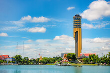 ROI-ET, THAILAND - July 16, 2020 : Tower Of Roi Et City Observatory, The Symbol Of Local Musical Instrument, New Landmark In Roi Et Province, Thailand.