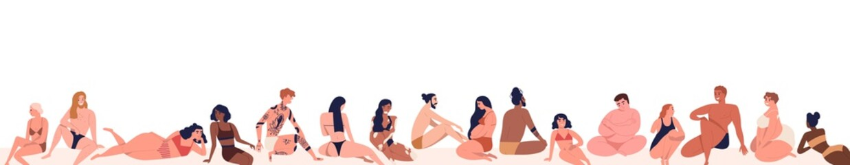 Obraz na płótnie Canvas Set of different, multiracial body positive people dressed on beach in beachwear. Various, pregnant, tattoo, dark skin men and women. Flat cartoon vector illustration isolated on white background