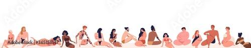 Fototapeta Set of different, multiracial body positive people dressed on beach in beachwear. Various, pregnant, tattoo, dark skin men and women. Flat cartoon vector illustration isolated on white background obraz