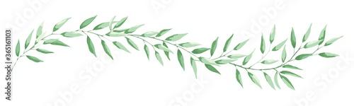 Cuadros en Lienzo Green leaf -- narrow banner