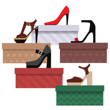Set Of Shoe Boxes With Ladies Shoes