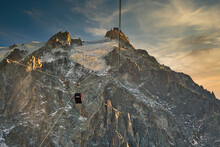 Aiguille Du Midi, High Mountain In The Mont Blanc Massif Of The French Alps. Cable Car From Chamonix To The Summit Of Aiguille Du Midi.