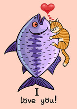 The Cat Hugs A Huge Fish. The Cat Is Very Happy.