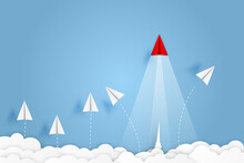Paper Plane Go To Success Goal...