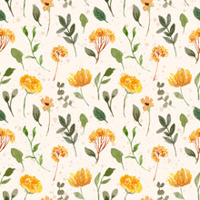Yellow Green Floral Garden Watercolor Seamless Pattern