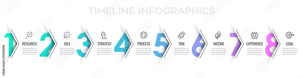 Fototapeta Vector Infographic arrow design with 8 options or steps. Infographics for business concept. Can be used for presentations banner, workflow layout, process diagram, flow chart, info graph