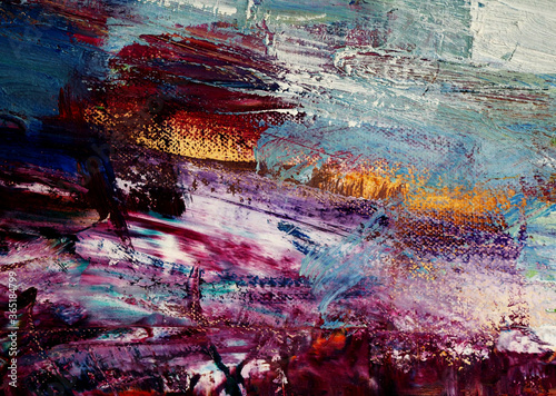 Fototapeta Colorful oil painting brushstroke on canvas abstract background with texture. obraz