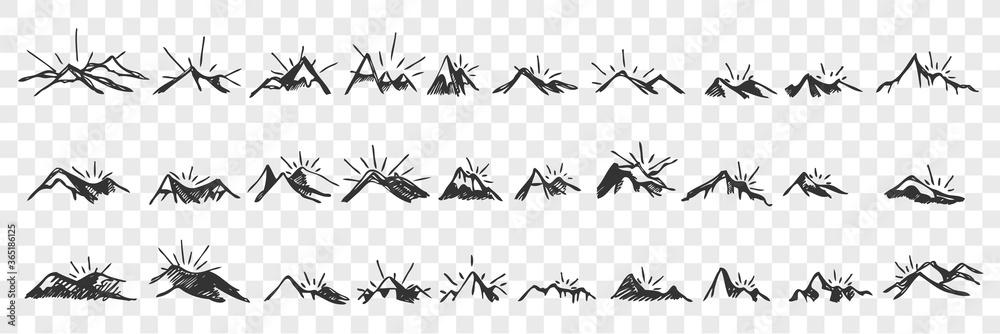 Fototapeta Hand drawn mountain peaks doodle set